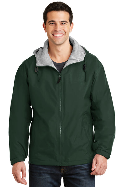 Port Authority JP56 Mens Team Wind & Water Resistant Full Zip Hooded Jacket Hunter Green Front