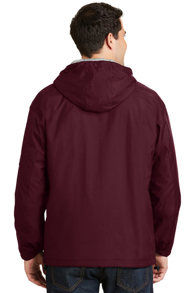 Port Authority JP56 Mens Team Wind & Water Resistant Full Zip Hooded Jacket Maroon Back