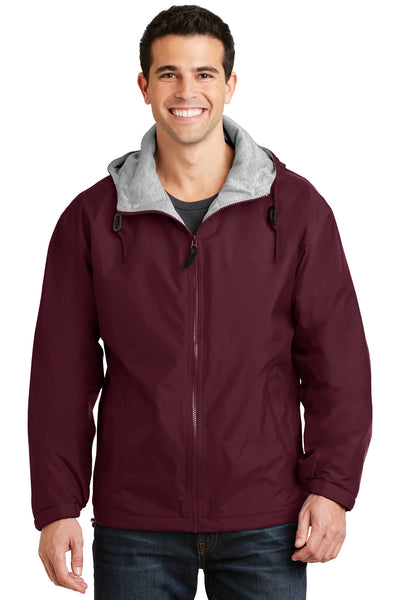 Port Authority JP56 Mens Team Wind & Water Resistant Full Zip Hooded Jacket Maroon Front