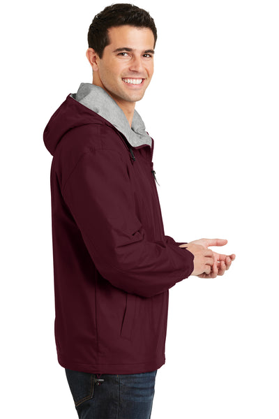 Port Authority JP56 Mens Team Wind & Water Resistant Full Zip Hooded Jacket Maroon Side