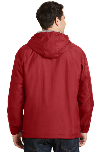 Port Authority JP56 Mens Team Wind & Water Resistant Full Zip Hooded Jacket Red Back