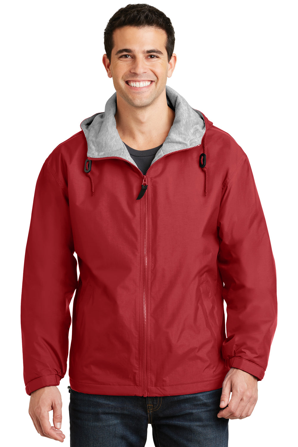 Port Authority JP56 Mens Team Wind & Water Resistant Full Zip Hooded Jacket Red Front