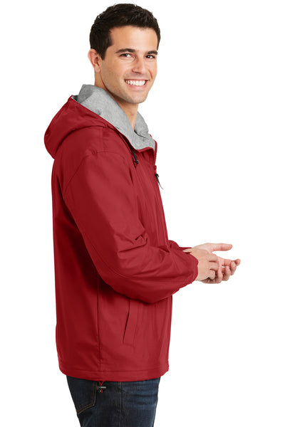 Port Authority JP56 Mens Team Wind & Water Resistant Full Zip Hooded Jacket Red Side