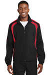 Sport-Tek JST60 Mens Water Resistant Full Zip Jacket Black/Red Front