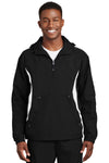 Sport-Tek JST63 Mens 1/4 Zip Hooded Jacket Black Front