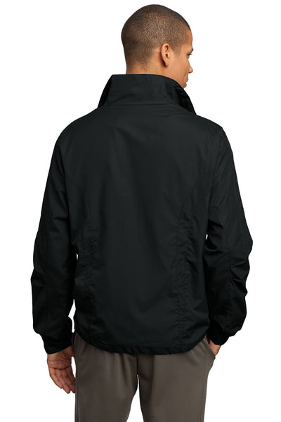 Sport-Tek JST70 Mens Water Resistant Full Zip Wind Jacket Black Back