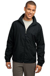 Sport-Tek JST70 Mens Water Resistant Full Zip Wind Jacket Black Front