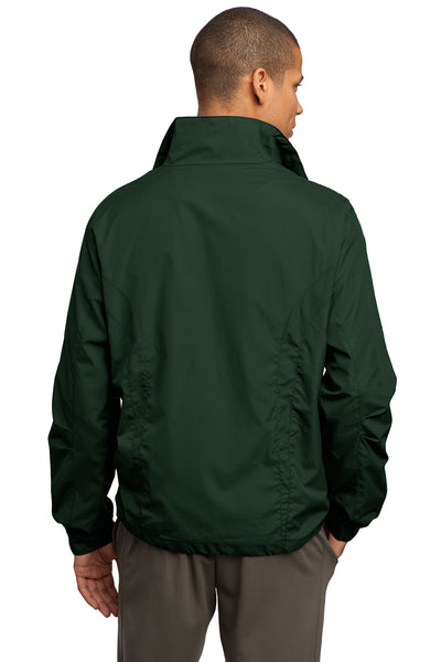 Sport-Tek JST70 Mens Water Resistant Full Zip Wind Jacket Forest Green Back