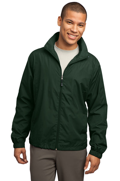 Sport-Tek JST70 Mens Water Resistant Full Zip Wind Jacket Forest Green Front