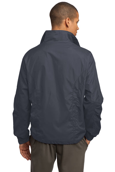 Sport-Tek JST70 Mens Water Resistant Full Zip Wind Jacket Graphite Grey Back