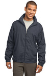 Sport-Tek JST70 Mens Water Resistant Full Zip Wind Jacket Graphite Grey Front