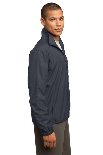 Sport-Tek JST70 Mens Water Resistant Full Zip Wind Jacket Graphite Grey Side