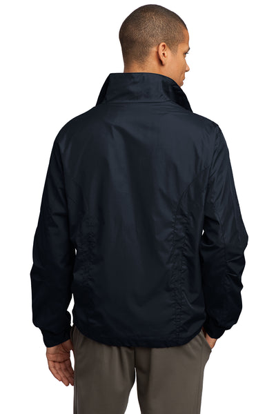 Sport-Tek JST70 Mens Water Resistant Full Zip Wind Jacket Navy Blue Back