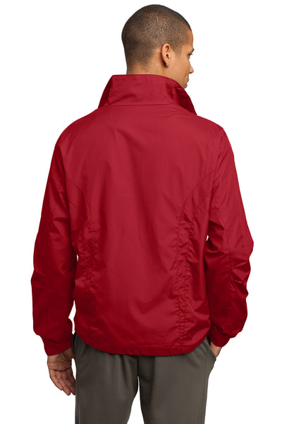 Sport-Tek JST70 Mens Water Resistant Full Zip Wind Jacket Red Back