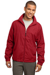 Sport-Tek JST70 Mens Water Resistant Full Zip Wind Jacket Red Front