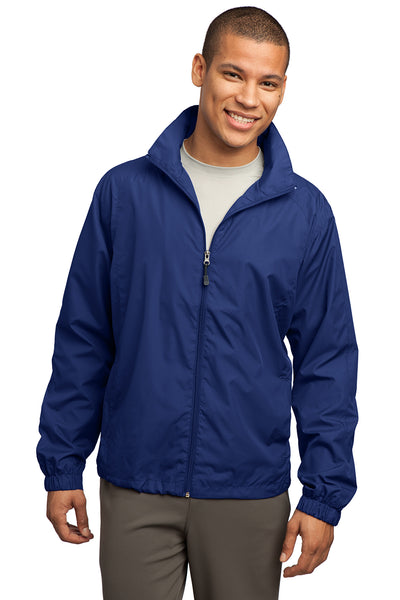 Sport-Tek JST70 Mens Water Resistant Full Zip Wind Jacket Royal Blue Front
