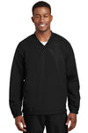Sport-Tek JST72 Mens V-Neck Wind Jacket Black Front
