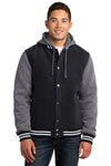 Sport-Tek JST82 Mens Snap Down Hooded Letterman Jacket Black/Grey/White Front
