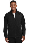 Sport-Tek JST90 Mens Full Zip Track Jacket Black Front
