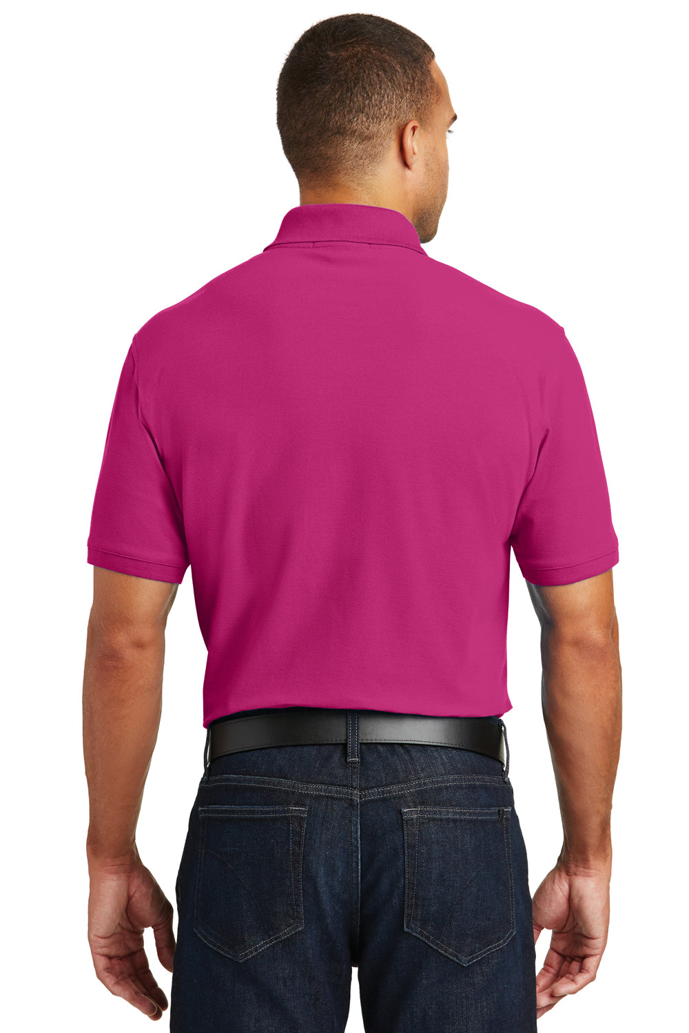 Port Authority K100 Mens Core Classic Short Sleeve Polo Shirt Azalea Pink Back