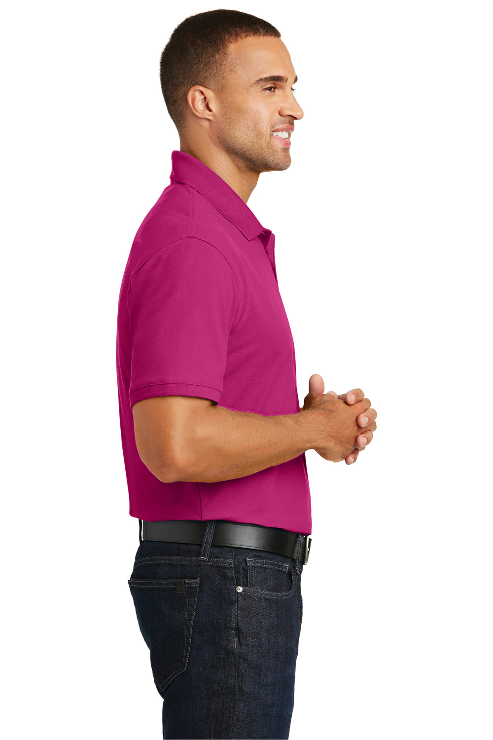 Port Authority K100 Mens Core Classic Short Sleeve Polo Shirt Azalea Pink Side