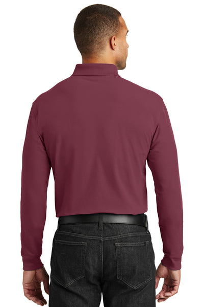 Port Authority K100LS Mens Core Classic Long Sleeve Polo Shirt Burgundy Back