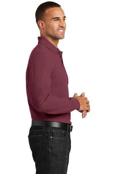 Port Authority K100LS Mens Core Classic Long Sleeve Polo Shirt Burgundy Side