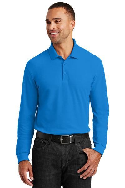 Port Authority K100LS Mens Core Classic Long Sleeve Polo Shirt Coastal Blue Front
