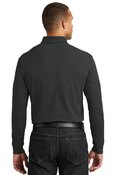 Port Authority K100LS Mens Core Classic Long Sleeve Polo Shirt Black Back