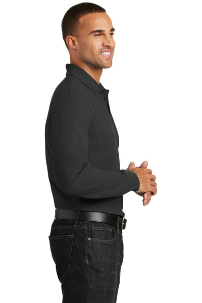 Port Authority K100LS Mens Core Classic Long Sleeve Polo Shirt Black Side