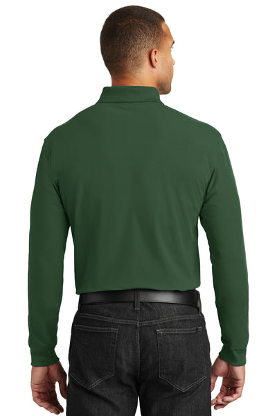 Port Authority K100LS Mens Core Classic Long Sleeve Polo Shirt Forest Green Back