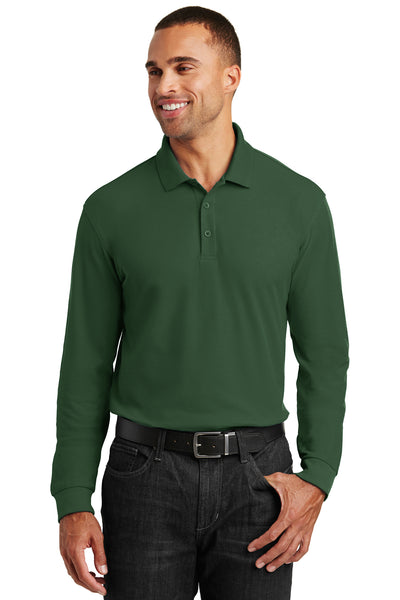 Port Authority K100LS Mens Core Classic Long Sleeve Polo Shirt Forest Green Front