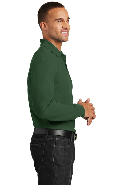 Port Authority K100LS Mens Core Classic Long Sleeve Polo Shirt Forest Green Side