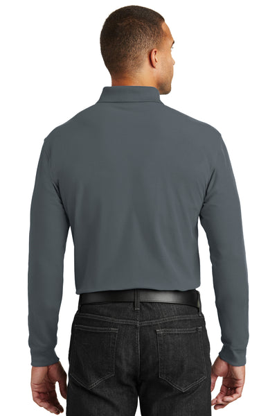 Port Authority K100LS Mens Core Classic Long Sleeve Polo Shirt Graphite Grey Back