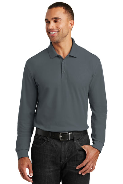 Port Authority K100LS Mens Core Classic Long Sleeve Polo Shirt Graphite Grey Front