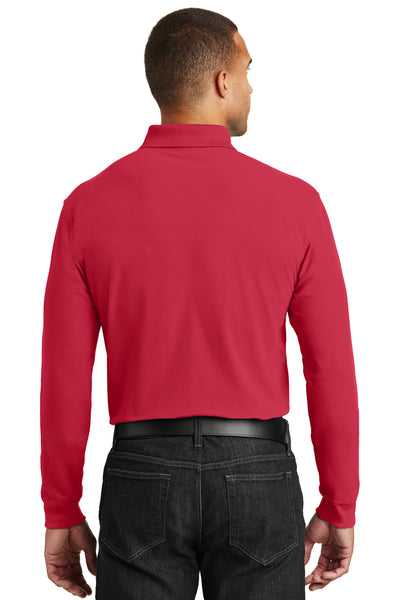 Port Authority K100LS Mens Core Classic Long Sleeve Polo Shirt Red Back