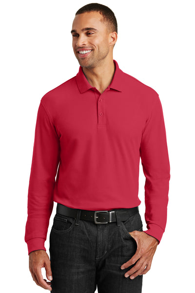 Port Authority K100LS Mens Core Classic Long Sleeve Polo Shirt Red Front