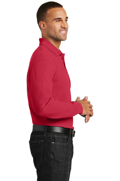 Port Authority K100LS Mens Core Classic Long Sleeve Polo Shirt Red Side