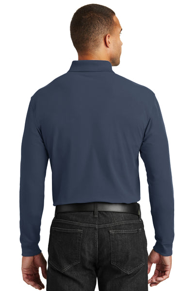 Port Authority K100LS Mens Core Classic Long Sleeve Polo Shirt Navy Blue Back