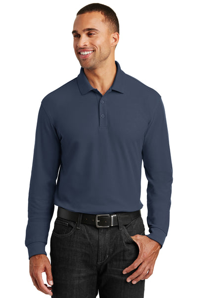 Port Authority K100LS Mens Core Classic Long Sleeve Polo Shirt Navy Blue Front