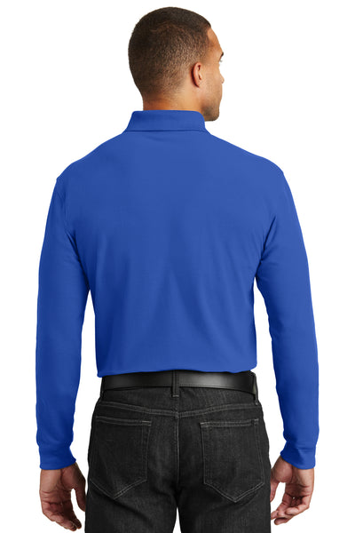 Port Authority K100LS Mens Core Classic Long Sleeve Polo Shirt Royal Blue Back