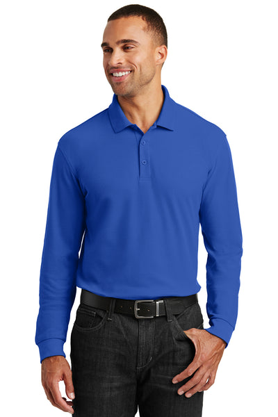 Port Authority K100LS Mens Core Classic Long Sleeve Polo Shirt Royal Blue Front