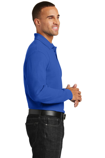 Port Authority K100LS Mens Core Classic Long Sleeve Polo Shirt Royal Blue Side
