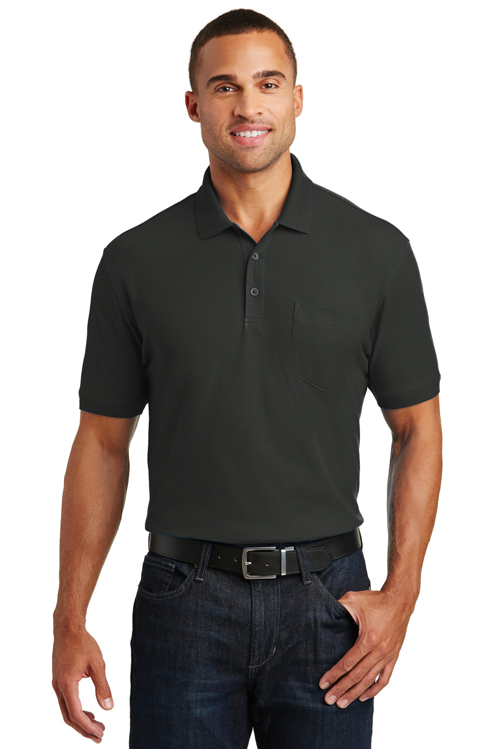 Port Authority K100P Mens Core Classic Short Sleeve Polo Shirt w/ Pocket Black Front