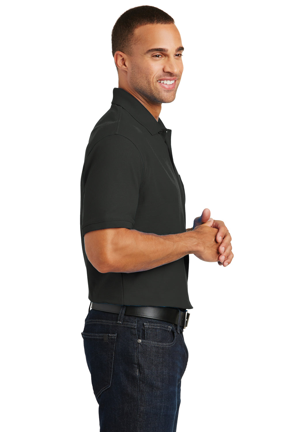 Port Authority K100P Mens Core Classic Short Sleeve Polo Shirt w/ Pocket Black Side