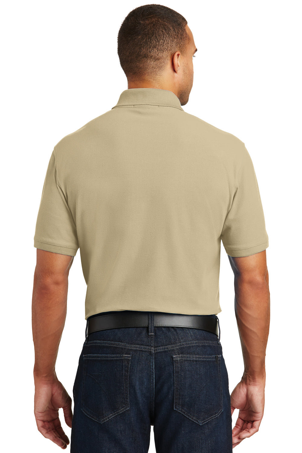 Port Authority K100P Mens Core Classic Short Sleeve Polo Shirt w/ Pocket Wheat Back
