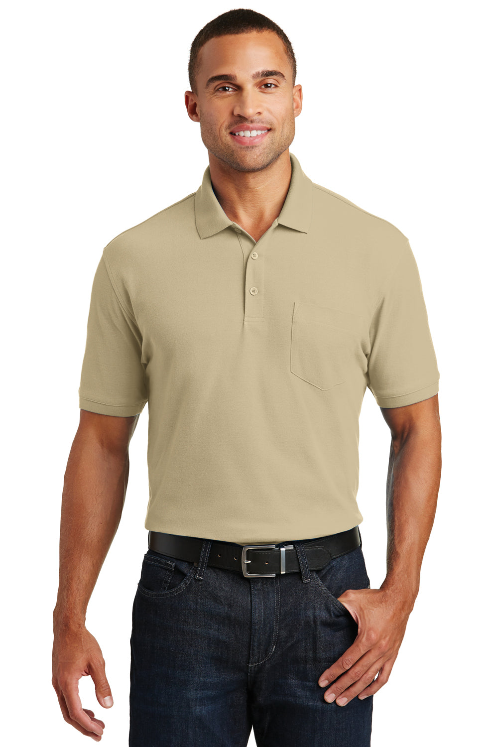 Port Authority K100P Mens Core Classic Short Sleeve Polo Shirt w/ Pocket Wheat Front