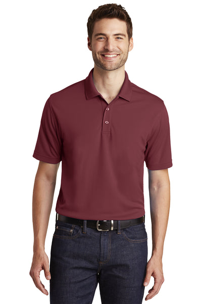 Port Authority K110 Mens Dry Zone Moisture Wicking Short Sleeve Polo Shirt Burgundy Front