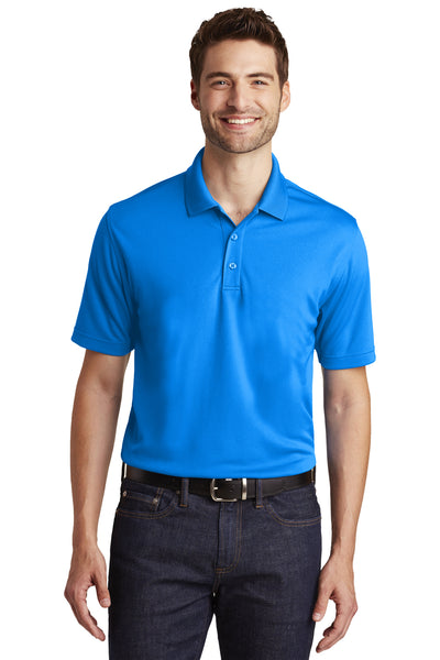 Port Authority K110 Mens Dry Zone Moisture Wicking Short Sleeve Polo Shirt Coastal Blue Front