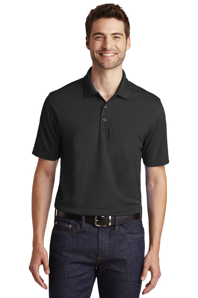 Port Authority K110 Mens Dry Zone Moisture Wicking Short Sleeve Polo Shirt Black Front